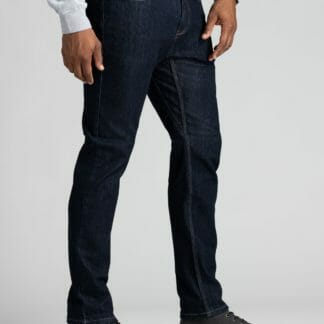 Mens_slim_fit_blue_water_resistant_stretch_jeans_side